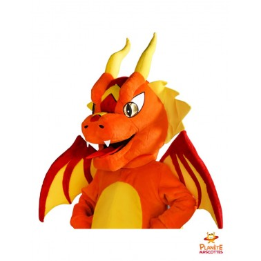 Costume mascotte dragon orange