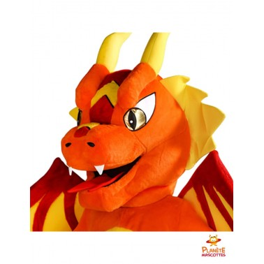 Tête costume mascotte dragon orange