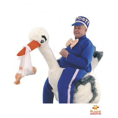 Costume mascotte à dos de cigogne