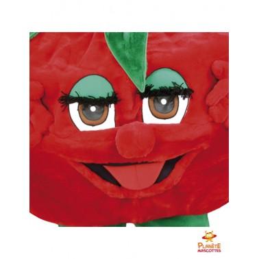 Visage mascotte de fraise