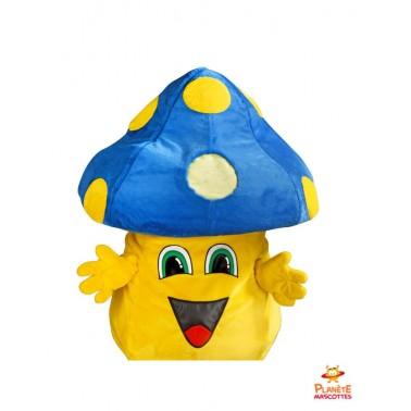 Chapeau mascotte champignon bleu