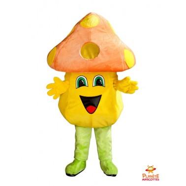 Mascotte champignon orange Planète Mascottes