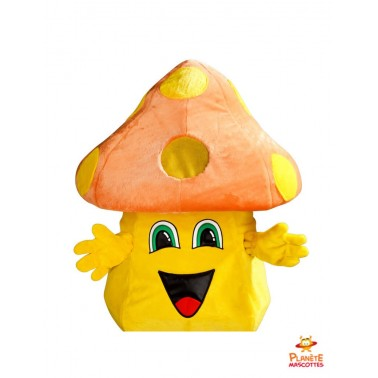 Chapeau mascotte champignon orange