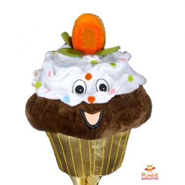 Mascotte cupcake marron