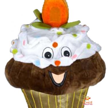 Mascotte détails cupcake marron