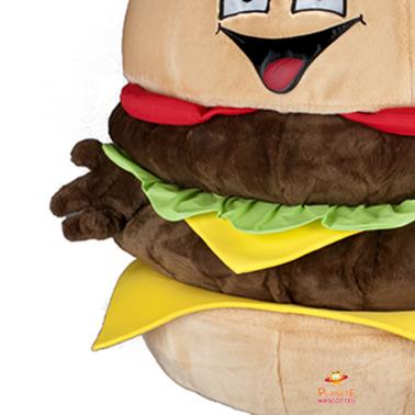 Détails mascotte hamburger Planète Mascottes