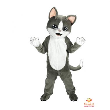 Mascota de gato gris Planète Mascottes