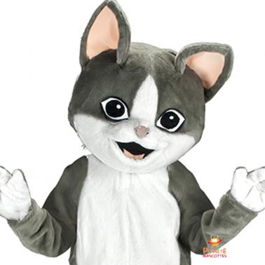 Tête mascotte chat gris Planète Mascottes