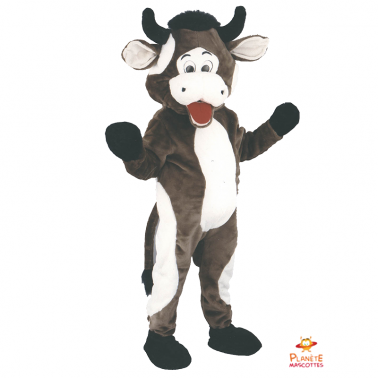 Mascotte de vache marron fun