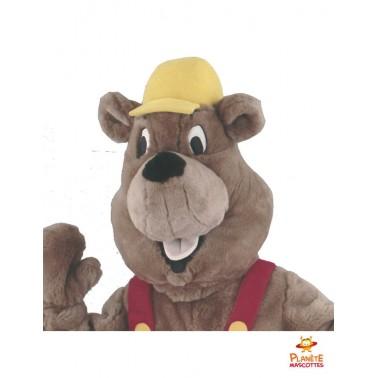 Tête mascotte marmotte bricoleur