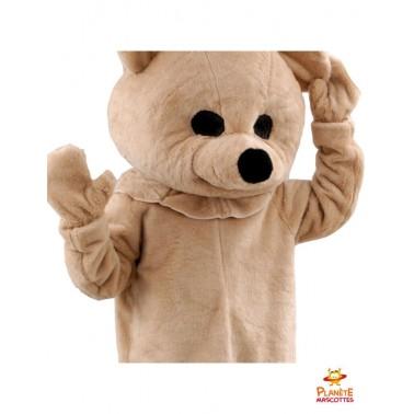Détails mascotte ours en peluche