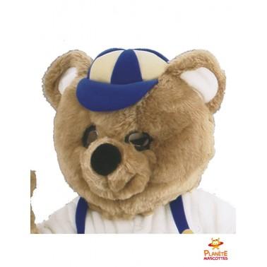 Tête mascotte ours habillé
