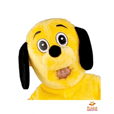 Tête mascotte chien jaune
