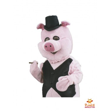 Costume mascotte cochon businessman