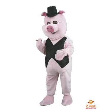 Mascotte Cochon Businessman