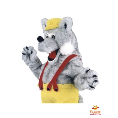 Costume mascotte de loup paysan