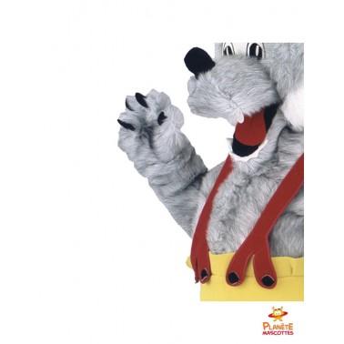 Détails mascotte loup paysan