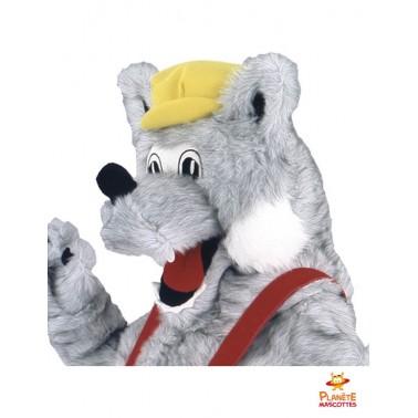 Tête mascotte loup paysan