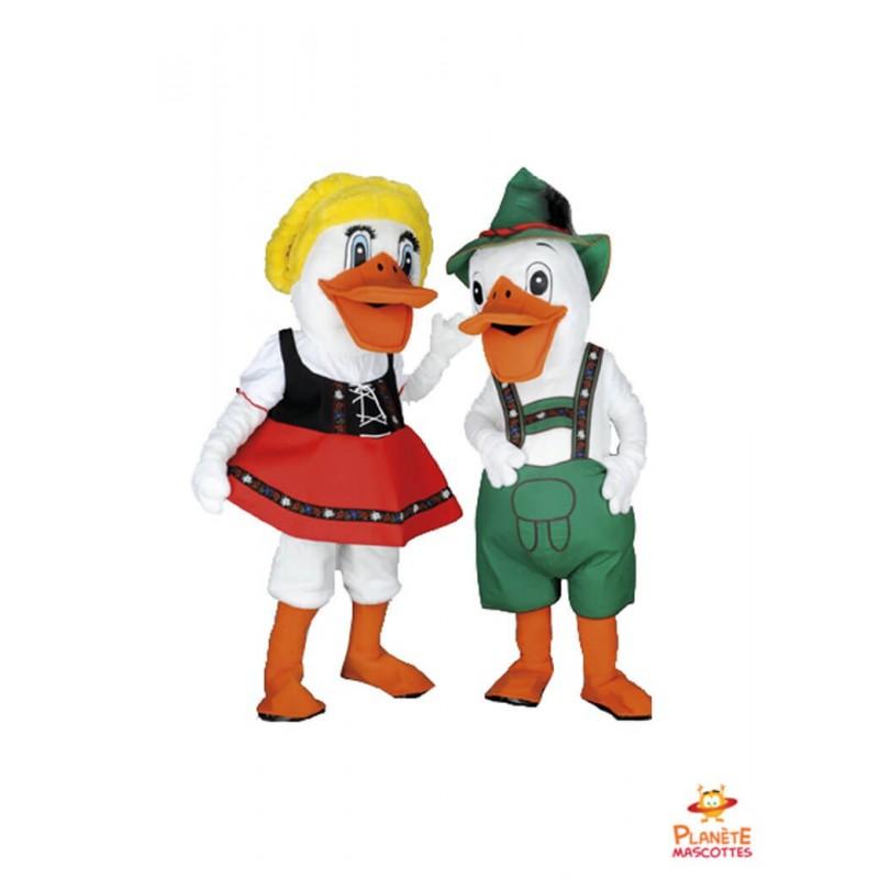 Mascotte couple canards Planète Mascottes