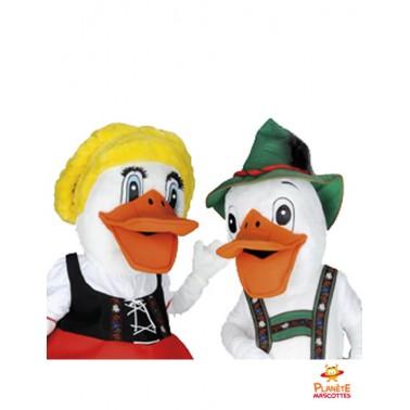 Costume mascotte couple canards