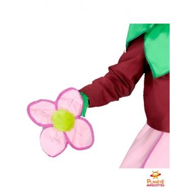 Détails mascotte fleur rose