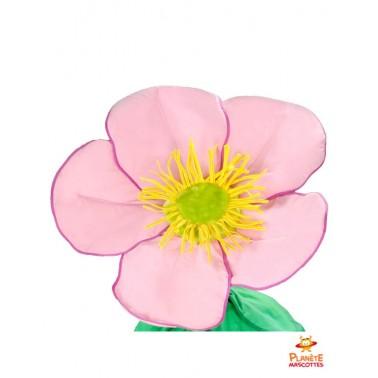 Tête mascotte de fleur rose