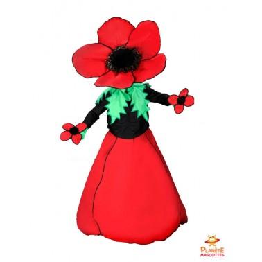 Mascotte fleur rouge Planète Mascottes