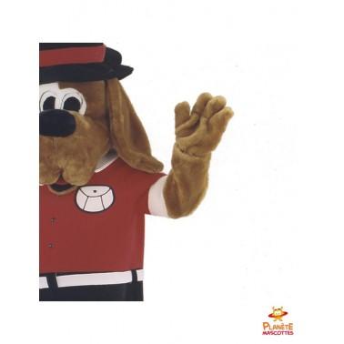 Détails mascotte de chien habillé