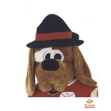 Tête mascotte de chien habillé