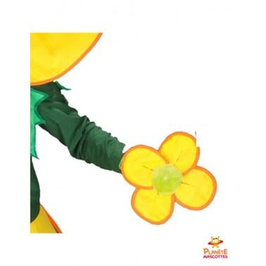 Détails mascotte de fleur jaune