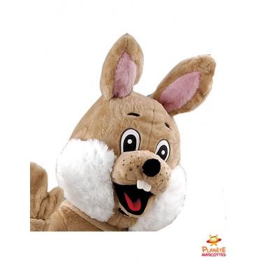 Tête mascotte lapin marron