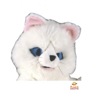 Visage mascotte chat blanc
