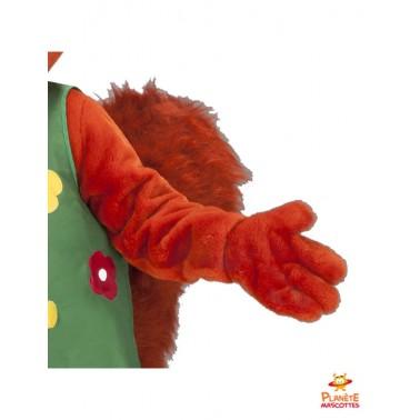Détails mascotte écureuil habillé