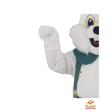 Détails mascotte lapin bavarois
