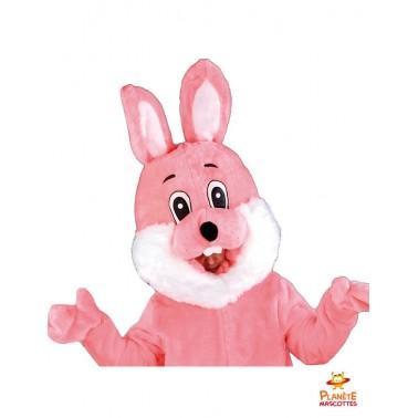 Costume mascotte lapin rose