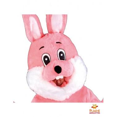 Tête costume mascotte lapin rose