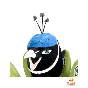 Tête mascotte de paon