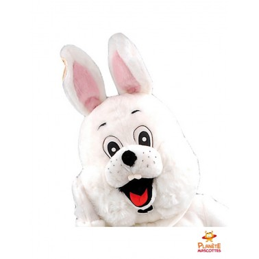 Tête mascotte de lapin blanc