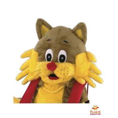 Tête mascotte de chat en salopette