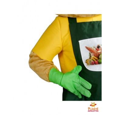 Détails mascotte jardinier salade