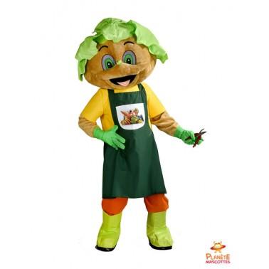 Disfraz de jardinero con cabeza de lechuga Planète Mascottes