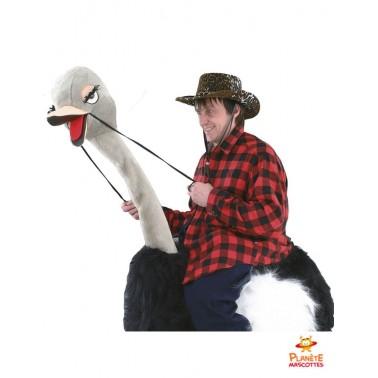 Costume mascotte à dos d'autruche