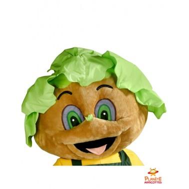 Tête costume mascotte jardinier salade