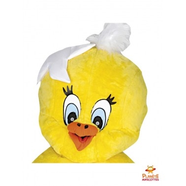 Tête costume mascotte poussin coquille