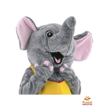 Tête mascotte éléphant costumé