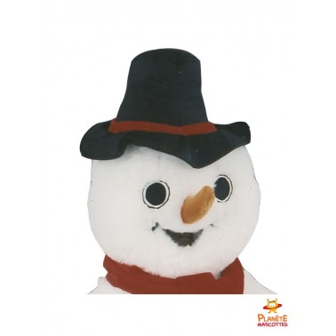 Tête mascotte bonhomme de neige