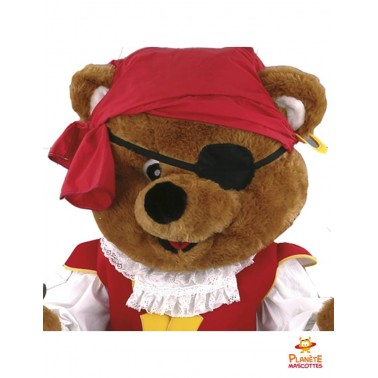 Tête mascotte ours pirate