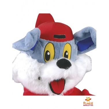 Tête mascotte de chien rappeur