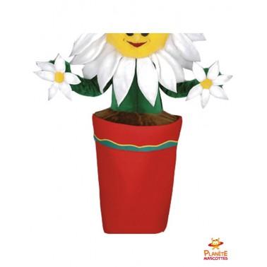 Mascotte marguerite pot de fleur