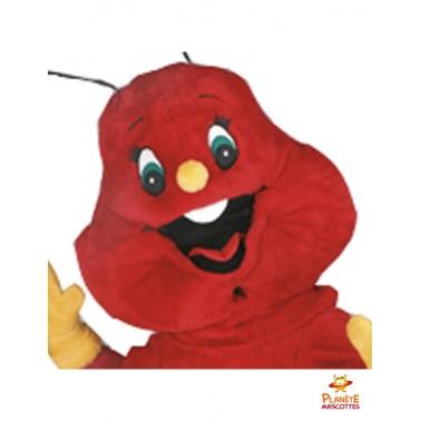 Visage mascotte chenille rouge